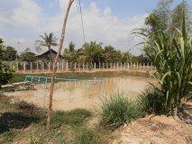 Rybníček s čerpáním vody a ohradou na ryby